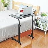 Soges 昇降式サイドテーブル ノートパソコンスタンド 折りたたみテーブル,ダークブラウン