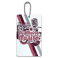 No 音楽ノーライフ - DJラジオステレオマイクロフォンロックロール IDカード荷物タグ