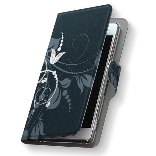 GALAXY S4 SC-04E ケース 手帳型 スマコレ 全機種対応 有り レザー 手帳タイプ 革 フリップ ダイアリー 二つ折り 横開き 革 SC04E ケース スマホケース スマホカバー クール 007666 Samsung サムスン docomo ドコモ 花 フラワー 黒 ブラック sc04e-007666-nb