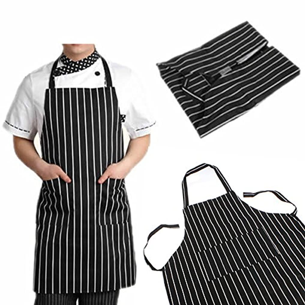なめるパイプ拒絶Auntwhale ブラックストライプビブエプロン 耐久性のある毎日 2つのポケット付き キッチン料理 調節可能な 大人