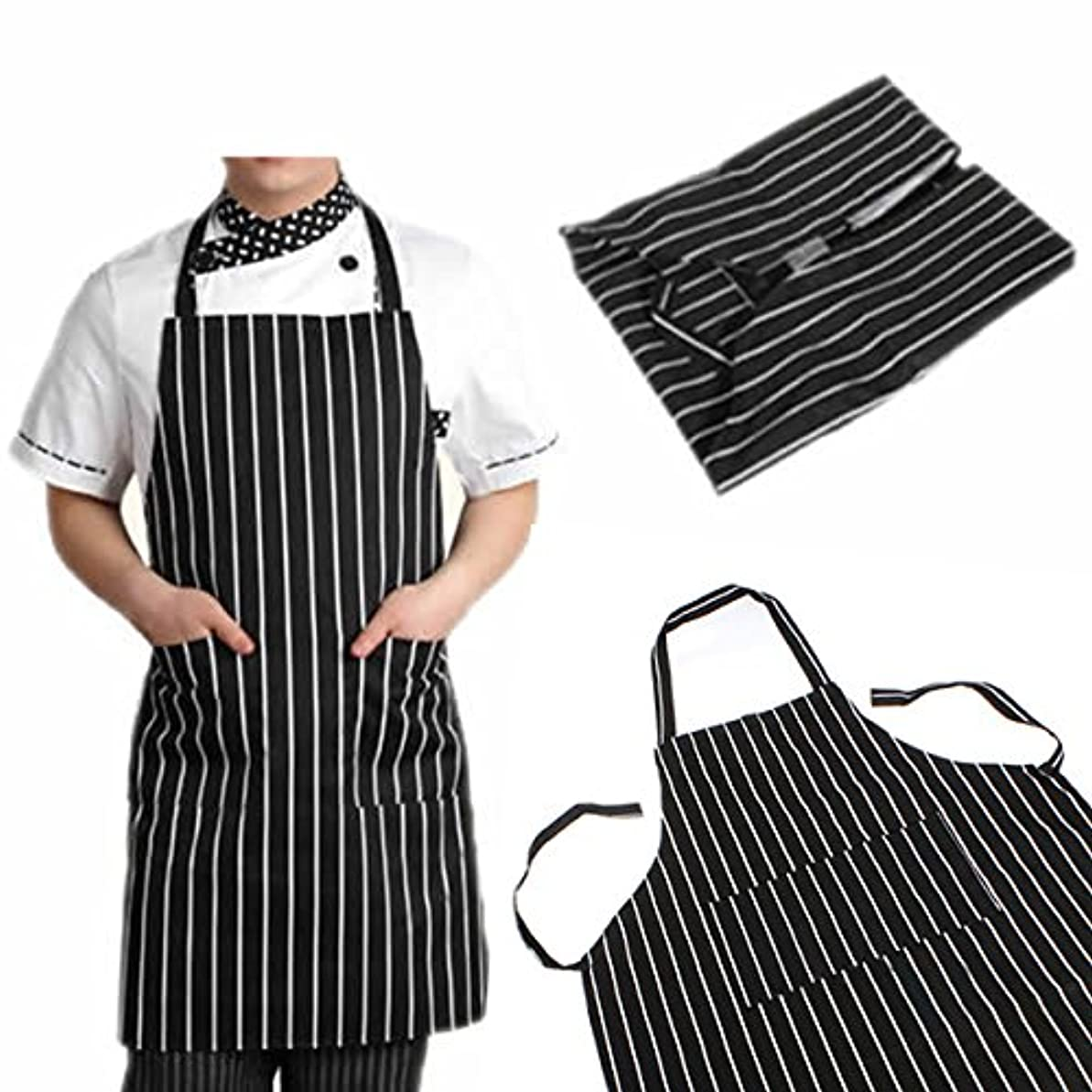 調べる手当宿るattachmenttou ブラックストライプビブエプロン 2つのポケット付き キッチン料理 耐久性のある 有用 調節可能な 大人