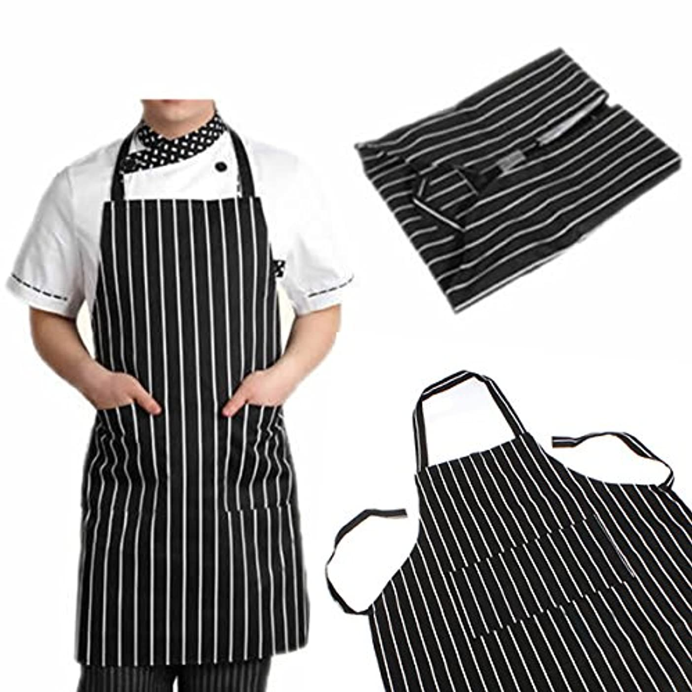 位置する所属そこattachmenttou ブラックストライプビブエプロン 2つのポケット付き キッチン料理 耐久性のある 有用 調節可能な 大人