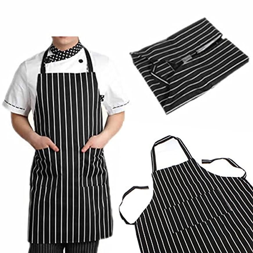 する他の日病者attachmenttou ブラックストライプビブエプロン 2つのポケット付き キッチン料理 耐久性のある 有用 調節可能な 大人