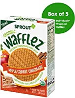 Sprout Organic オーガニック Wafflez Toddler Snacks, Apple Carrot Cinnamon, 5 Count Box of Individually Wrapped Waffles