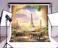 GooEoo ビニール8 x 8フィート写真の背景エッフェル塔ロマンチックなパリビューバルコニー風景トップビュー街の午後日没ランプテーブルシーンアート写真個人の肖像画撮影ビデオスタジオプロップ