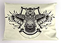 Owl Pillow Sham, Ancient Heraldic Animal Design Medieval European Design on Off White Background, Decorative Standard Queen Size Printed Pillowcase, 30 X 20 inches, Cream and Black