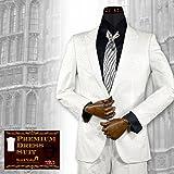 (ブラックバリア) BLACK VARIA スーツ 豹柄 ヒョウ柄 ジャガード 日本製 2ピース ドレススーツ パーティー ホワイト set1528 S