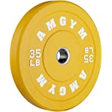 AMGYM Color Olympic Bumper Plate, Weights Plates, Bumper Weight Plate, Steel Insert, Strength Training