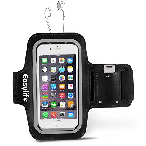 Easylife アームバンド キーポケット付き スポーツ用 iPhone SE / 5 / 6 / 6s / Androidなどのスマホ(4.7インチまで)に対応可能 ブラック