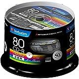 三菱化学メディア Verbatim 音楽用CD-R 80分 1回録音用 48倍速 スピンドルケース 50枚 インクジェットプリンタ対応(ホワイト) ワイド印刷エリア対応 MUR80FP50SV1