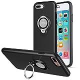 iPhone8 Plus ケース / iPhone7 Plus ケース、ICONFLANGによる360度回転リンググリップケース、iPhone 7 / 8 Plusデュアルレイヤー耐衝撃性保護iPhone 7 / 8 +ケース、磁気ブラケットに適用されます (Black)
