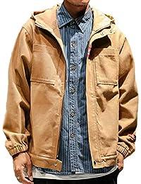 Sodossny-JP メンズファッションフルジップフードポケットコートアウトプラスプラスルーズジャケット
