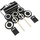 LeaningTech 電子マットドラムセット 録音 デモ 機能搭載 打楽器 ペダル付き 音楽ゲームィ どこでもドラム 本番動画を提供 音質参考