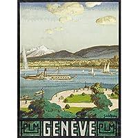 La Neziere Lake Geneva Switzerland Travel Advert Extra Large Art Print Wall Mural Poster Premium XL 湖スイス旅行広告大アート壁ポスター