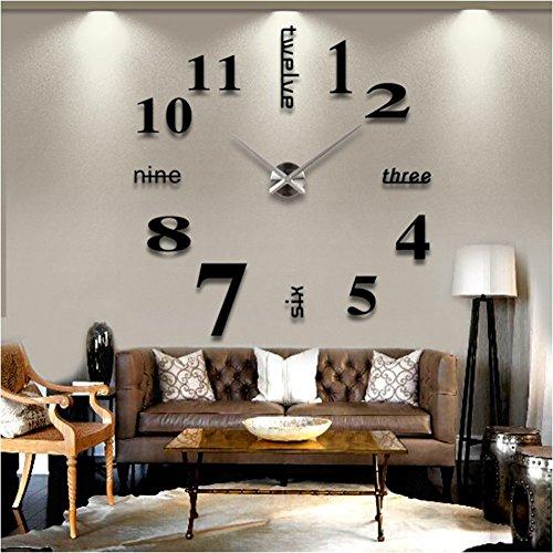 SUND 大きいサイズ壁掛け時計 ローマ数字と英語併用する サイレント DIYできるインテリア壁時計