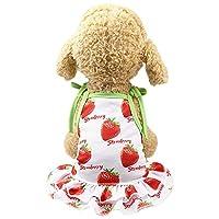 (Enerhu)犬の服 ドッグウェア ペット服 小型犬 チワワ 犬ワンピース 犬猫洋服 春 夏 プリンセス服 脱毛保護 生理期保護 日焼き防ぐ かっこいい 散歩 お出かけ おしゃれ かわいい 果物 イチゴ #3 L