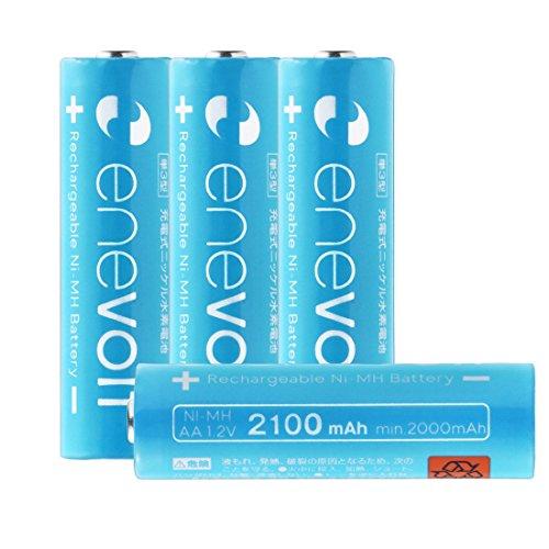 エネボルト(enevolt) 単3 充電池 2100mAh 大容量 ニッケル水素充電池 自然放電軽減 繰り返し約1000回 充電 電池 4本セット