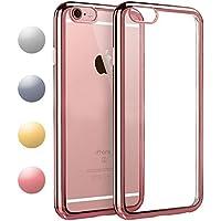 iPhone6s ケース / iPhone6 ケース TPU 【COOLOO】 透明 ソフト クリア メッキ加工 耐衝撃 最軽量 超薄型 一体型 人気 オシャレ 4.7インチ アイフォン 6s / 6 用 (ローズゴールド)