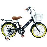 自転車 子供用 16インチ 男の子 女の子 子ども 幼児 幼児車 ジュニア キッズバイク 補助輪 かわいい おすすめ 【AJ-07】 【バッドブラック】 記念日 誕生日 プレゼントに 自転車デビューならこれ!