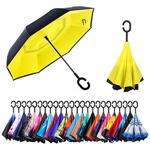 CarBoys 長傘 逆さ傘 逆折り式傘 手離れC型手元 耐風傘 撥水加工 晴雨兼用 ビジネス用 車用 UVカット遮光遮熱 傘ケース付き(黄色)