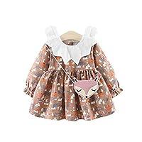 赤ちゃん 長袖ワンピースドレス かわいいベビー服 Tutu Flockドレス 6ヶ月-4歳 高品質柔らかいコートン材質 キツネボディバッグが付く[ブラウン 12-18ヶ月]
