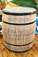 【ハワイアン雑貨】コナコーヒー木樽(茶) Lサイズ☆樽☆ハワイ 雑貨☆ハワイアン インテリア