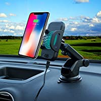 HYU自動赤外線センサー、Qiワイヤレス高速充電車マウントホルダークレードルCompatible With Iphone x 8 8 Plus Samsung Galaxy s9 s8 s7 s6note5 note7 LG HTC Nokia Google & Qi EnabledデバイスInclude Wind C2