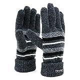 (シンサレート) Thinsulate 手袋 メンズ ニット グローブ ボーダー 高機能中綿素材 5color (Free, ブラック)