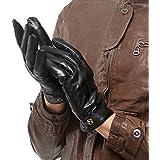 NAPPAGLO メンズ 男性用 本革 羊革 手袋 スマホ対応 手作り グローブ ロングフリース ライニング (S ブラック(スマホ対応のない))