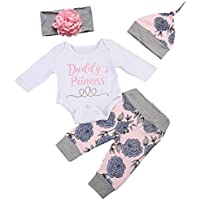 Weixinbuy Baby Girls' Long Sleeve Romper + Flower Pants Clothes Set
