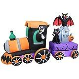 7 Foot Long Lighted Halloween Inflatable Grim Reaper Ride Train with Tombstone Cat Bat Pumpkin Indoor Outdoor Yard Art Decoration