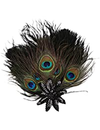 Prettyia ヘアバンド カチューシャ 孔雀の毛 人工羽根 豪華 ヴィンテージ 髪飾り