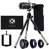 カメラレンズキットApple iPhone 6/6s用 含まれる物: 12倍望遠レンズ、フィッシュアイレンズ、マクロレンズ、ワイドアングルレンズ、三脚、フォンホルダー、ホルダーリング、ハードケース、ベルベットバッグ、クリーニングクロス (黒, iPhone 6/6s)