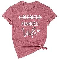 JINTING Girlfriend Fiancee Wife Shirt Women Engagement Party T Shirt Just Married Shirts