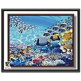 ARTomo【アトモ】パズル油絵『フレーム付き』数字 油画 DIY 塗り絵 本格的な油絵が誰でも簡単に楽しく描ける 40x50cm【海底の世界】