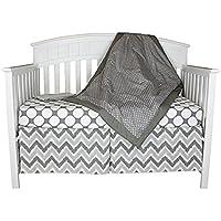 Bacati Dots and Chevron 4-in-1 Cotton Baby Crib Bedding Set Grey [並行輸入品]