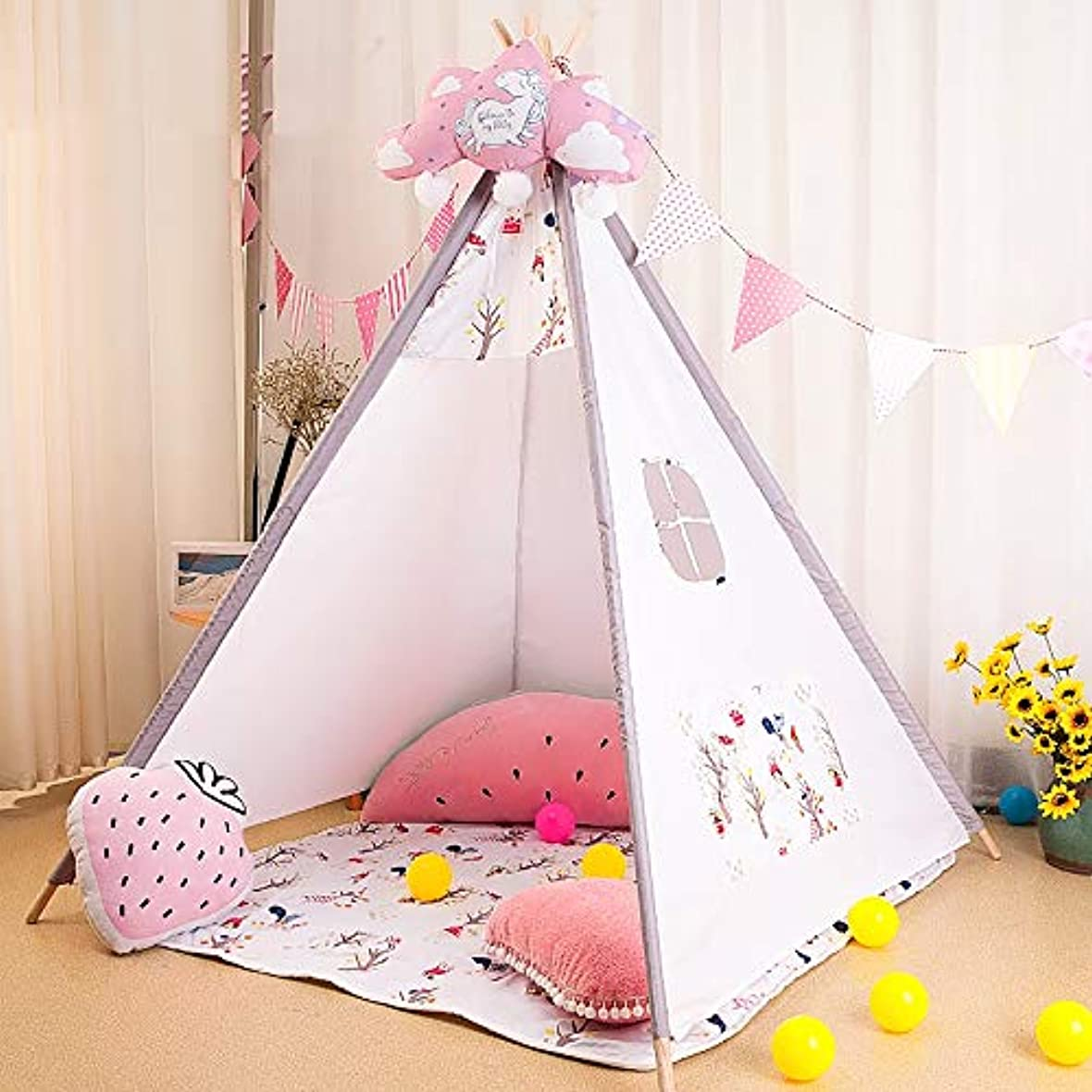 母寛大なつまらない子供のテント屋内女の子の赤ちゃんテントゲーム家インドの男の子のおもちゃの家、簡単にインストールテントは、窓、ポケット、および着色パターンが付属しています。,AnimalOrchard