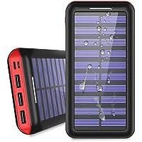KEDRON モバイルバッテリー 25000mAh ソーラーチャージャー 超大容量【Micro&Lighting デュアル入力ポート / 3台同時充電】太陽光で充電でき iPhone / iPad / Android各種対応 (赤)