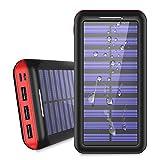 KEDRON モバイルバッテリー 25000mAh ソーラーチャージャー 超大容量【Micro&Lighting デュアル入力ポート/3台同時充電】太陽光で充電でき iPhone/iPad/Android各種対応 (赤)