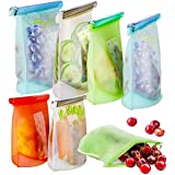 Reusable Silicone Food Storage Bags Airtight Seal Food Silicone Bag Container for Liquid,Meat,Sanwich,Fruit, Best for Preserv