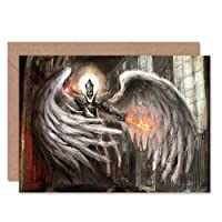 FANTASY ANGEL KNIGHT FLAME SWORD BLANK GREETINGS BIRTHDAY CARD ART ファンタジー騎士挨拶