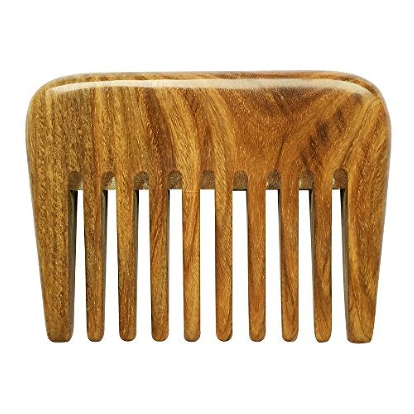 侵入する革命またはどちらかBeneAlways Portable Hair & Beard Comb/Pick ? Made From One Whole Piece of Natural Green Sandalwood with Fragrant...