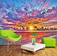 Lcymt 日没の火は美しいテレビの背景の壁カスタム大壁画緑のシルクの壁紙を燃やす-400X280Cm
