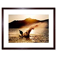 Sport Water Skiing Spray Silhouette Sunset Framed Wall Art Print スポーツ水スキーシルエット日没壁