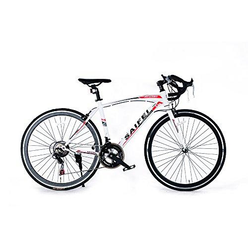 ロードバイク700C 初心者SD-01自転車 14段変速 男女兼用 通勤通学 軽量 ドロップハンドル (ホワイト)