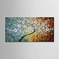 キャンバス花植物現代の芸術作品を飾るストレッチ手描き油絵,90*45