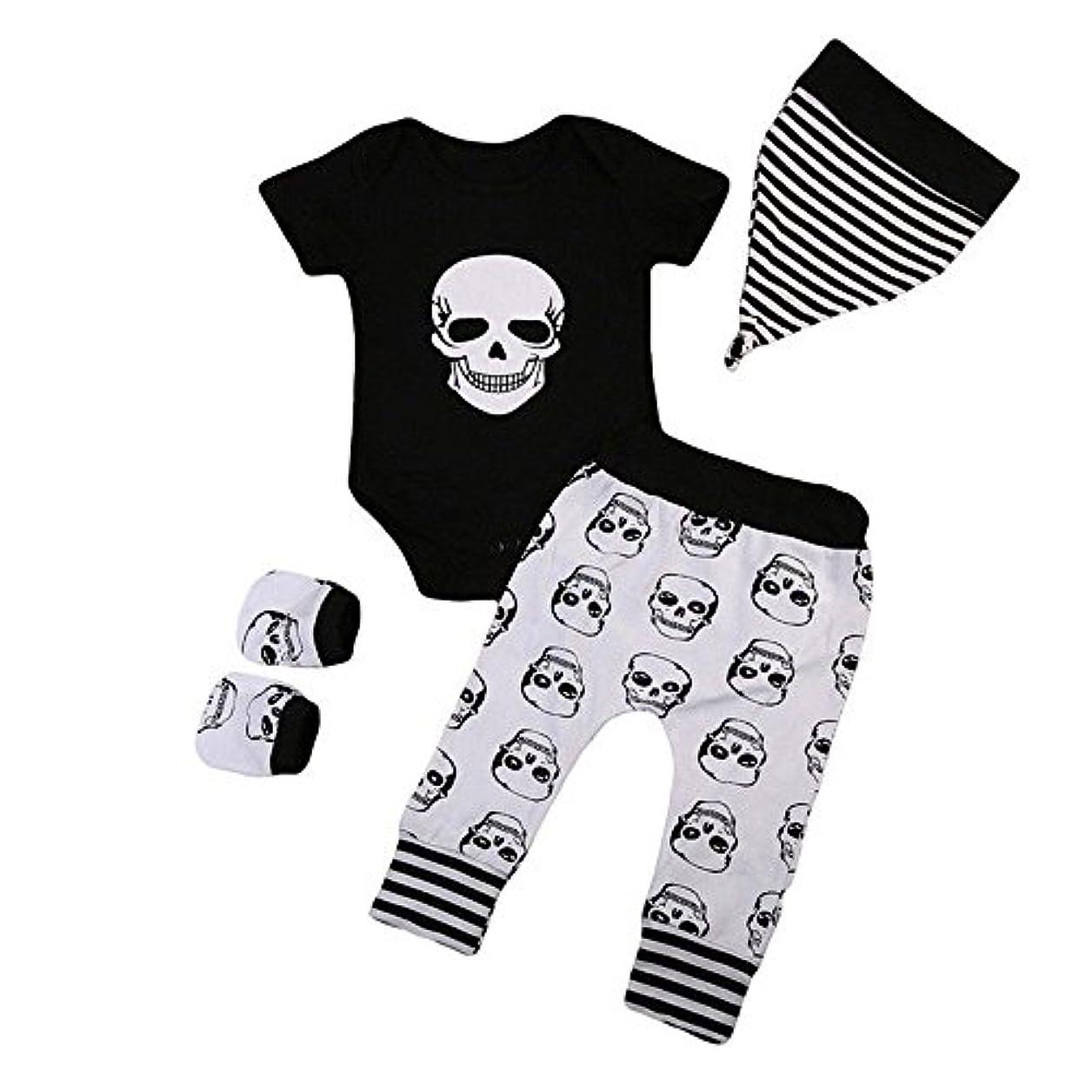 輝くカウボーイ獣BHKK 子供 幼児少年少女ハロウィンボーンプリントロンパー+パンツ+帽子+手袋 6ヶ月 - 24ヶ月