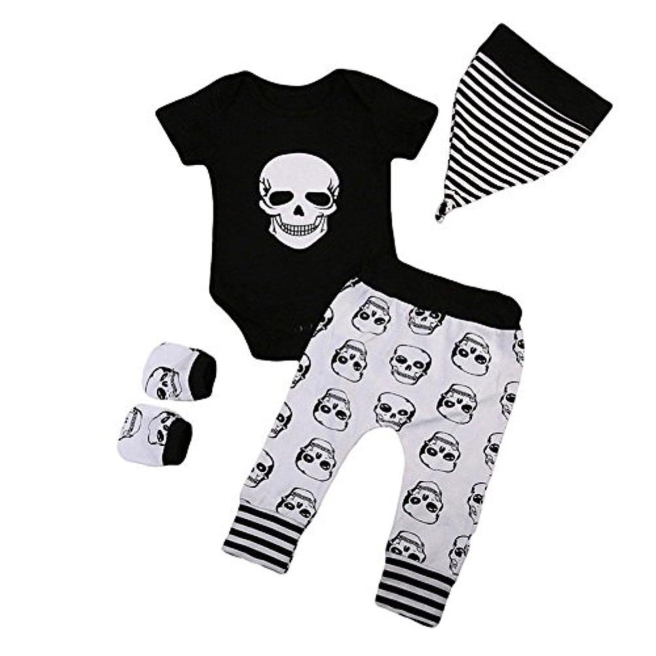 中古極めて重要な家族BHKK 子供 幼児少年少女ハロウィンボーンプリントロンパー+パンツ+帽子+手袋 6ヶ月 - 24ヶ月