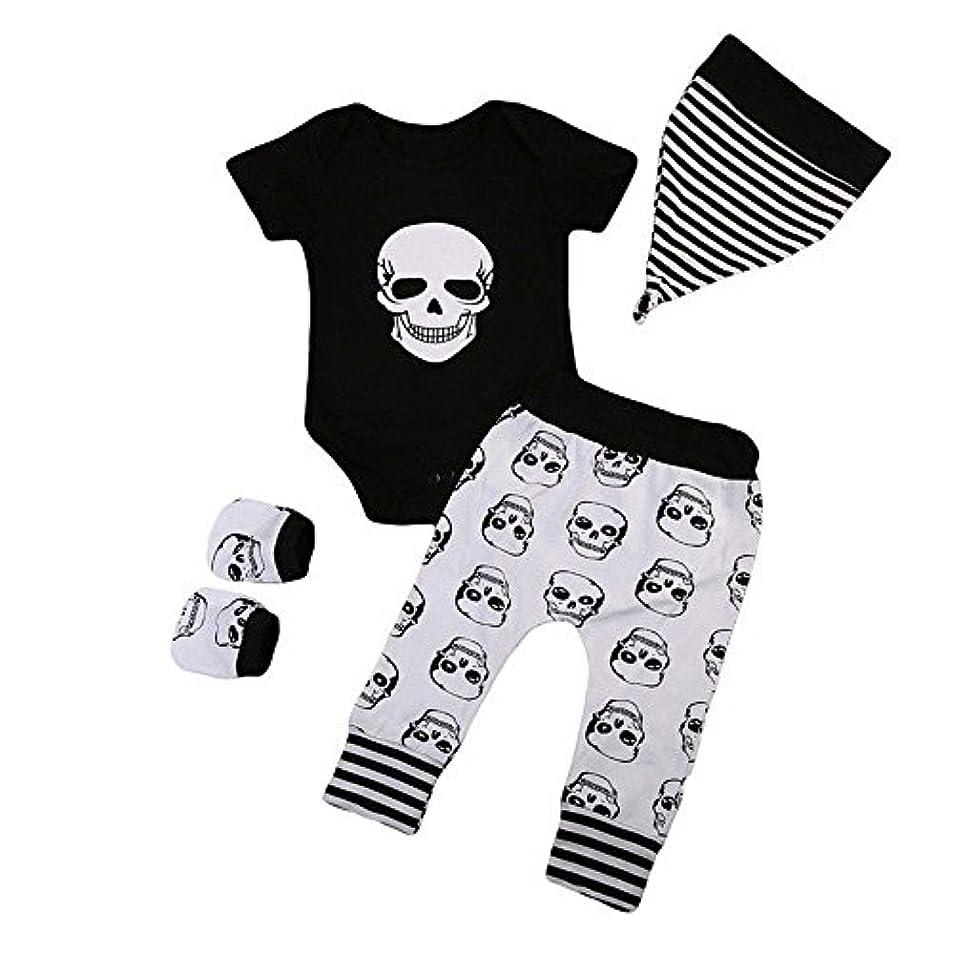 それぞれ下品厳BHKK 子供 幼児少年少女ハロウィンボーンプリントロンパー+パンツ+帽子+手袋 6ヶ月 - 24ヶ月