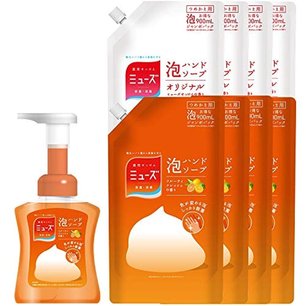 眠る同時まっすぐ【セット品】薬用せっけんミューズ 泡ハンドソープ フルーティフレッシュの香り 色が変わる泡 本体ボトル 250ml+詰替え2種 セット